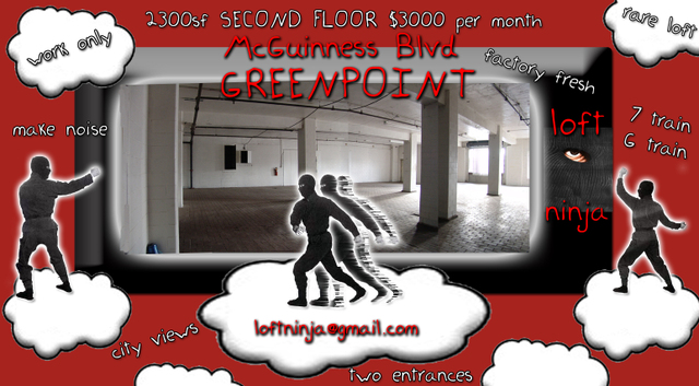 Greenpoint Brooklyn Artist Loft 2300SF $3000